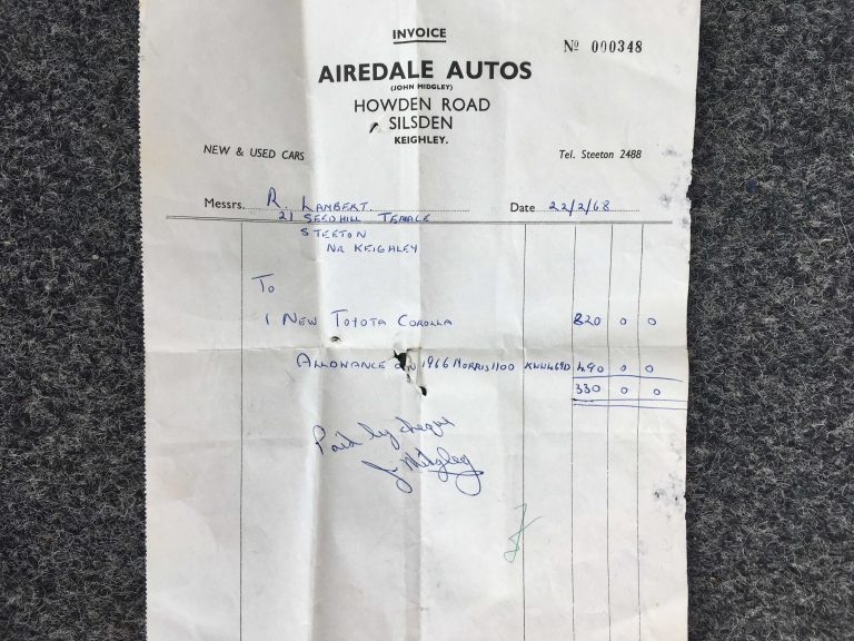 51 YEAR OLD AIREDALE AUTOS INVOICE