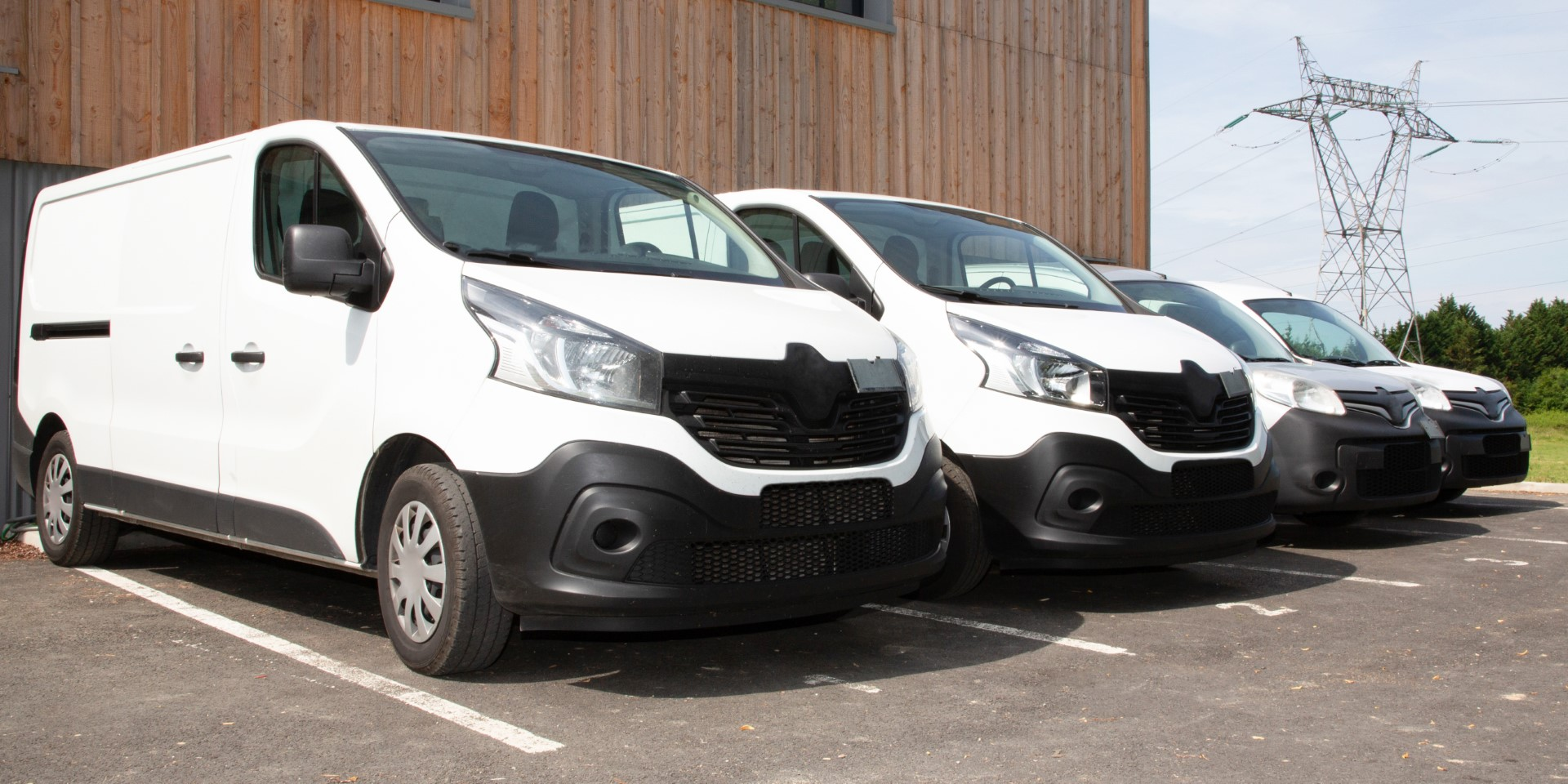 Delivery,van,small,trucks,line,up,park,outside - Barnsley Commercial Sales Ltd